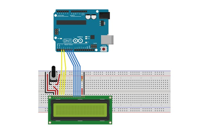Circuit Schematic with LCD Mounted to Breadboard