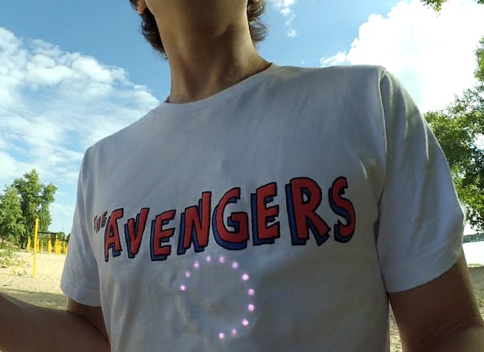 LEDs are bright enough to be clearly seen through the shirt even in broad daylight