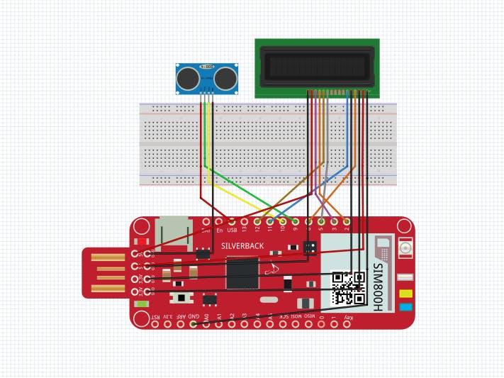 Ultrasonic Sensor with Surilli GSM and 16x2 LCD