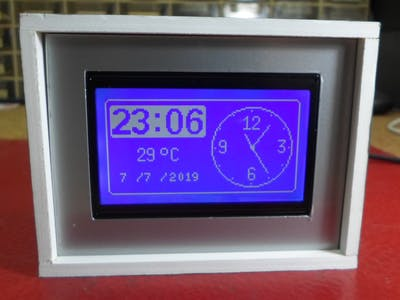 Analog, Digital Clock and Thermometer on 128x64 LCD