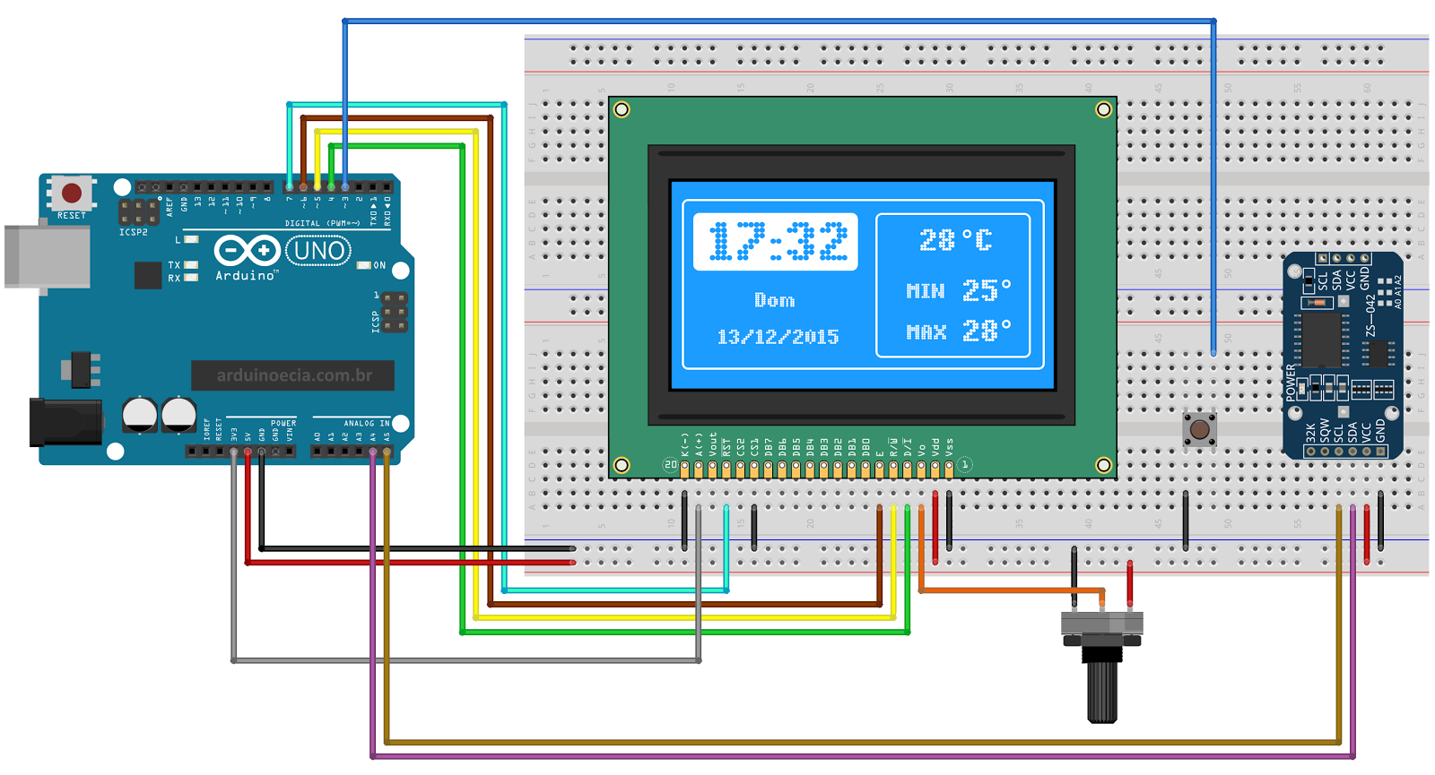 Analog, Digital Clock and Thermometer on 128x64 LCD - Hackster io
