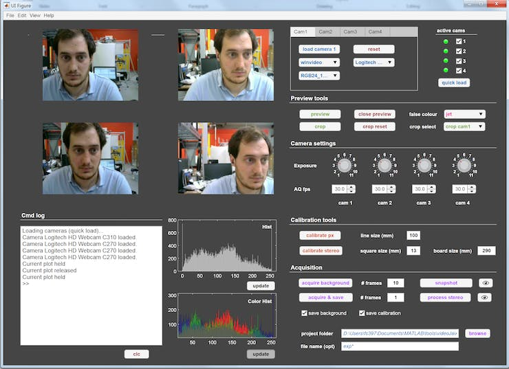 We have developed the camFlowApp to guide the user through multi-camera acquisition.