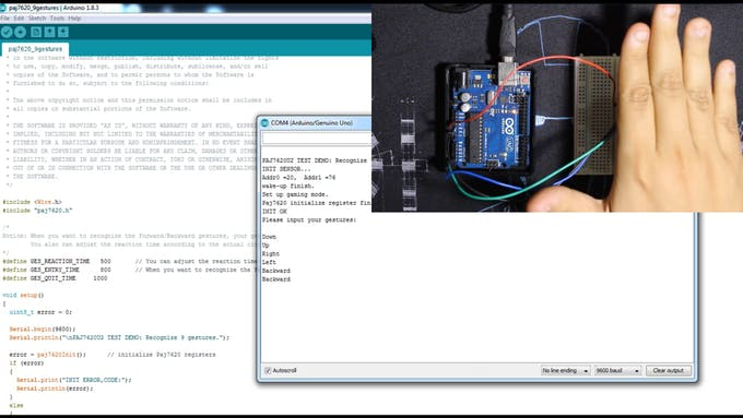 Direct test with the Serial Monitor