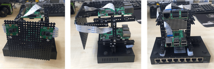 A 2-rpi prototype built with the TotemMaker Kit mounted onto a network switch.