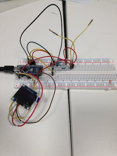 Lazy meter on a breadboard.