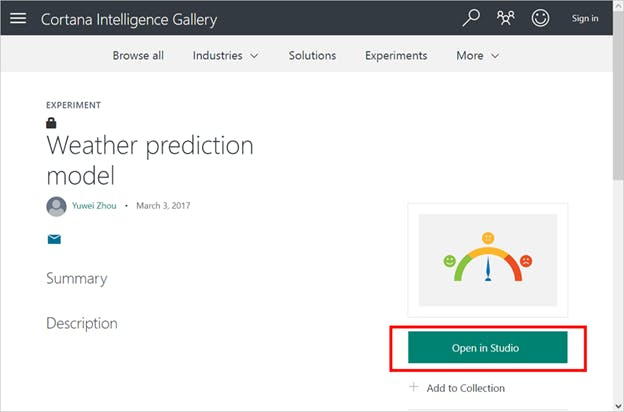 Importing the Weather Prediction Model into Azure ML Studio