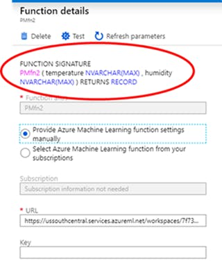 The Function Signature is defined by the ML Studio experiment