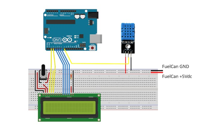 Circuit Schematic with LCD and DHT11 Sensor Wired to Uno