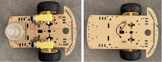 Top and Bottom views of the car chassis