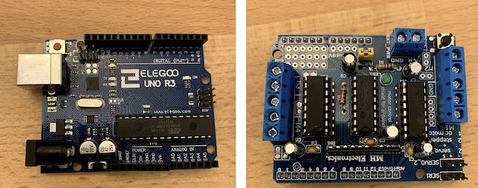 Arduino (ELEGOO UNO R3) to the left. L293D Motor Shield to the right