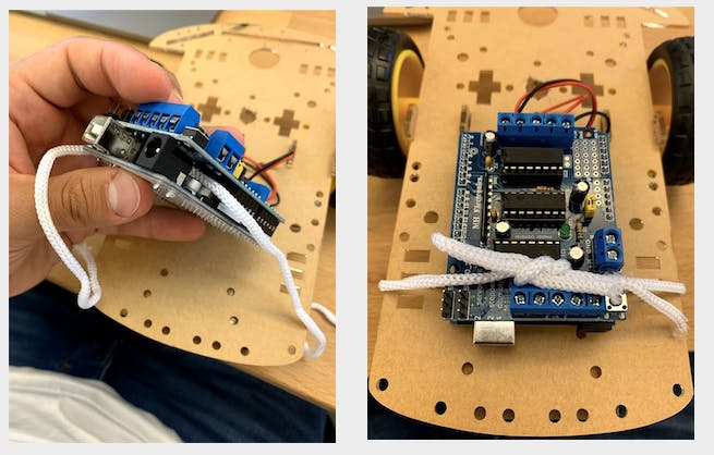 Attached the board to the chassis using a string