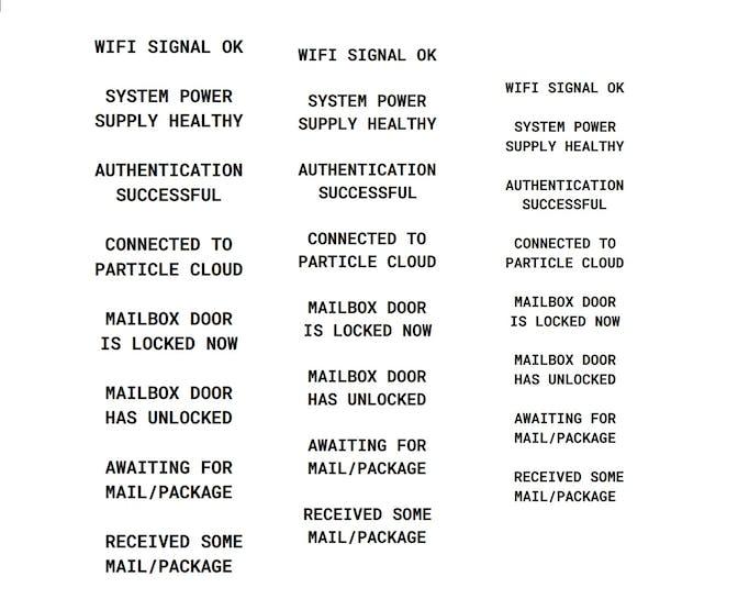 Front Panel Labels