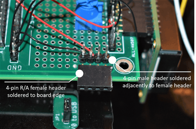Male and Female Headers Soldered to Modulus