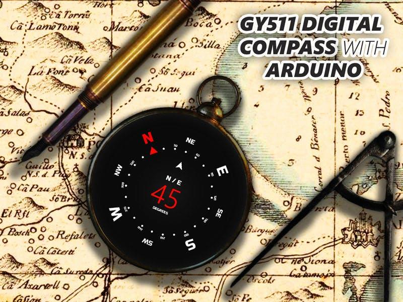 Make a Digital Compass w/ GY-511 Accelerometer/Magnetometer