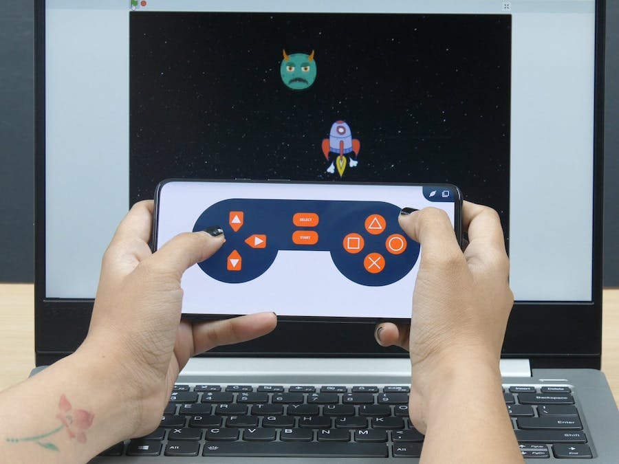 Mobile Controlled Space Battle in PictoBlox (Scratch-Based)