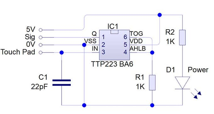 TTP223 Touch Sensor Module schematic