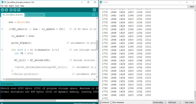 Print pulse width data for each channel to serial
