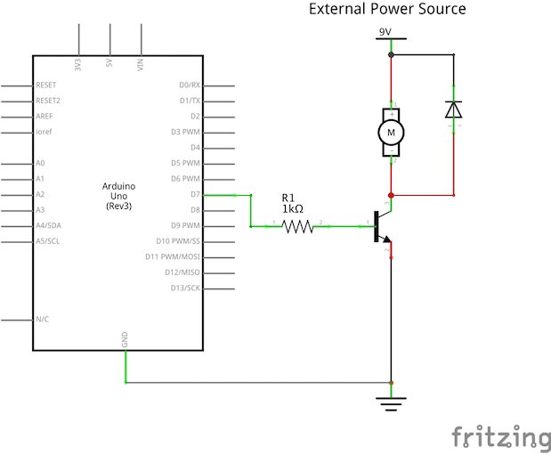 Use a transistor to drive high current load