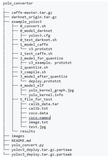 Directory structure of the Darknet to Caffe project