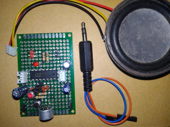 ISD1820 Voice board, 8 Ohms Speaker and 3.5 mm Audio jack