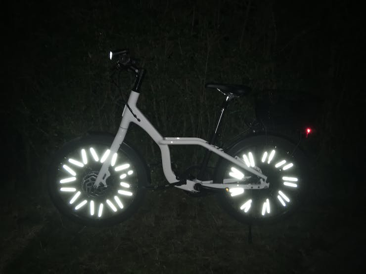 photo made with flash in the dark. The spoke reflector clip ons really make a difference.