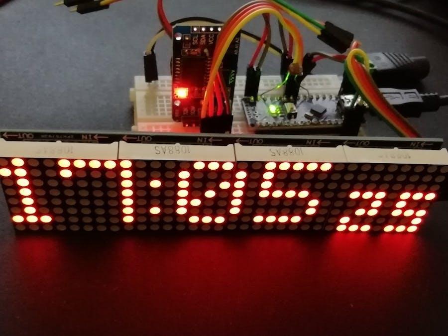 Arduino Nano Clock with 4x64 LED Matrix