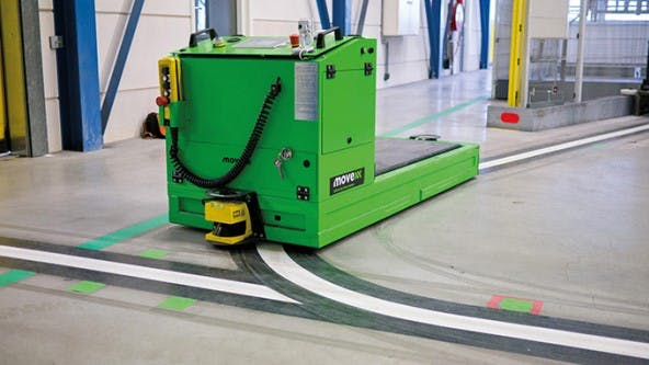 A common automated guided vehicle that uses magnetic tape as a guide to travel