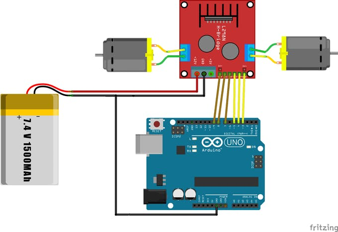 L2398N Module Wiring Diagram with the Arduino board