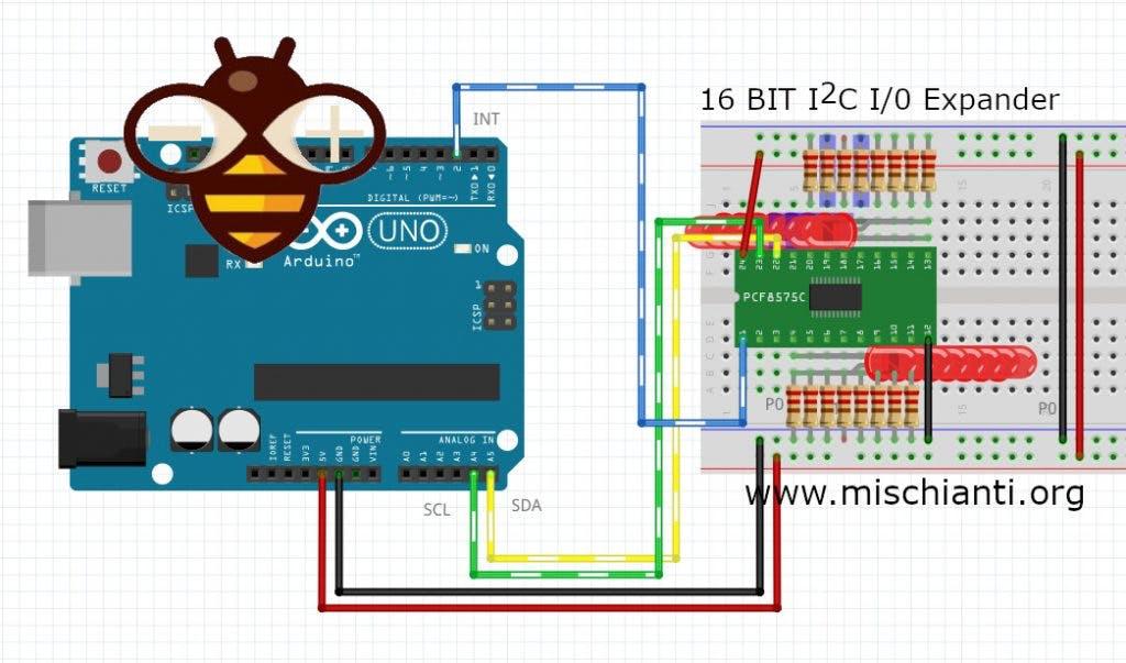 PCF8575 IIC I2C I//O Extension Shield Module 16 bit SMBus I//O Ports For Arduino