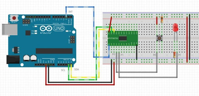 PCF8575 test read write LED button