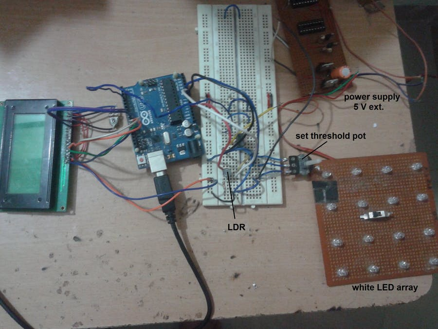 Close Loop Control System Demo Using LED Light and LDR