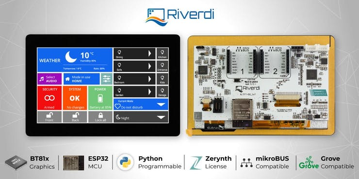 Riverdi IoT Display is Python-programmable, cloud-ready, and expandable, with top of the line graphical capabilities.