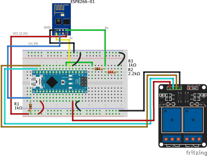 Adding two-channel relay module