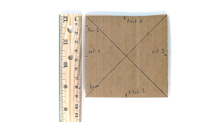 On the left side of the Base, measure 1cm from top. Mark the Yaw 1.