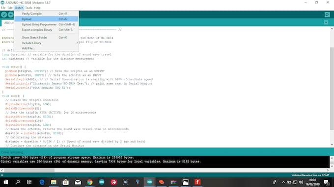 Uploading the code