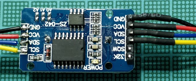 DS3231 module I2C Wiring with Arduino Nano Every on the right and BM280 on the left