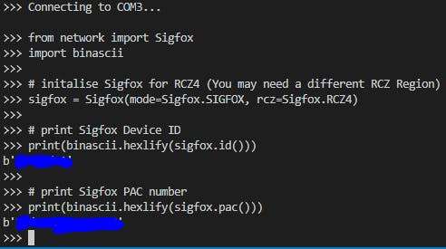 Terminal Method to get Sigfox Device ID and PAC number