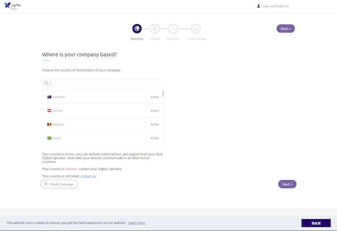 Registering with Sigfox Backend