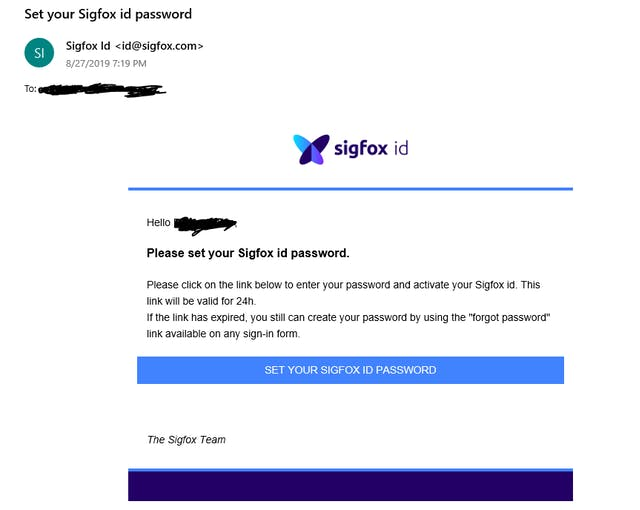Email from Sigfox for Password setup
