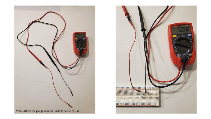 Multimeter with 22 gauge leads