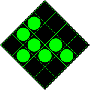 300px green circles on black sixteen blocks