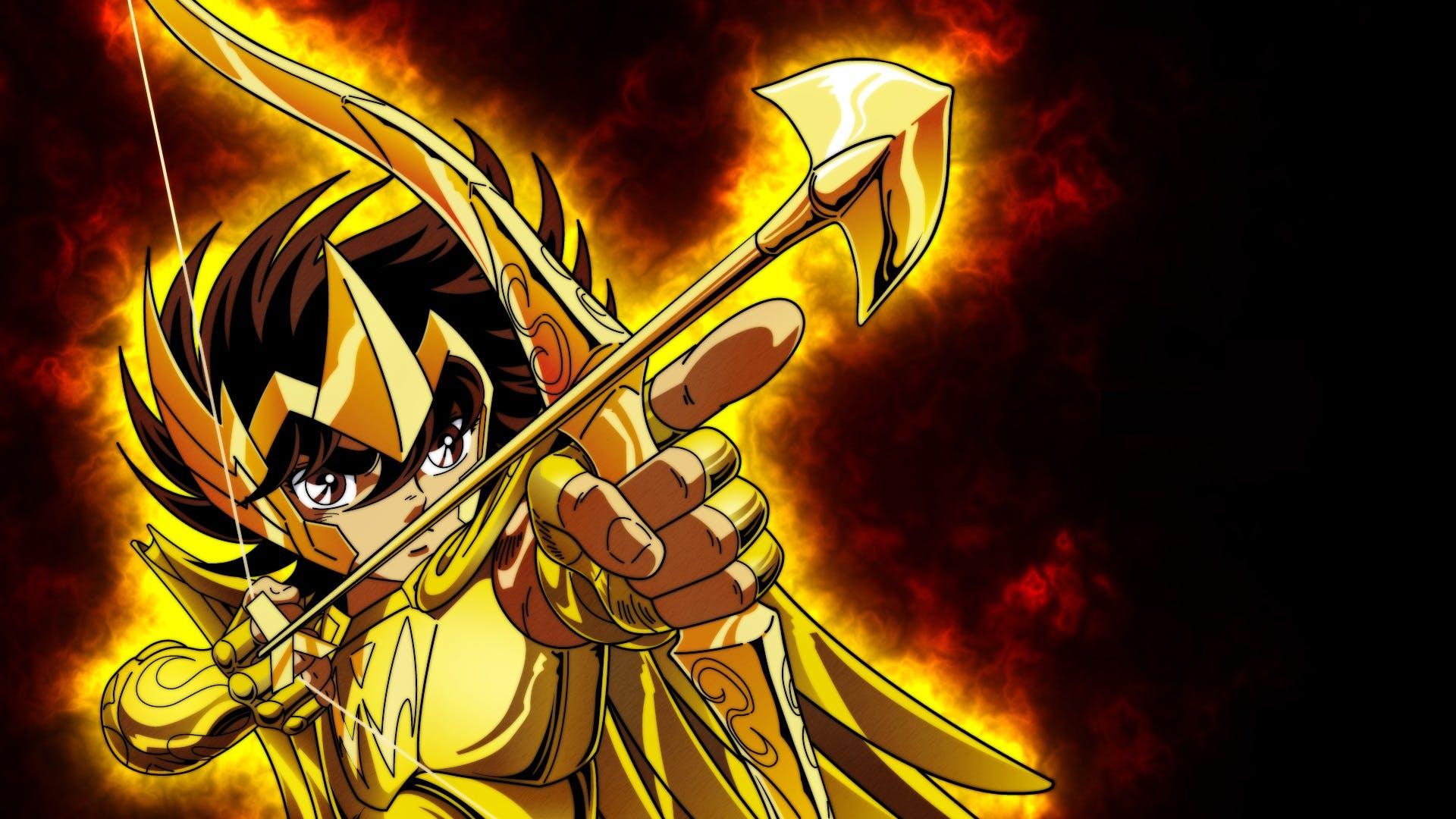 Papel de parede cavaleiros do zodiaco seiya com armadura de ouro de sargitario 36197  c pia