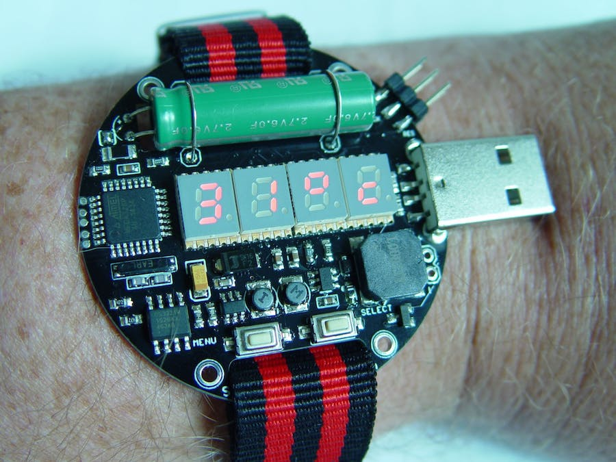 Supercapacitor powered arduino led wrist watch hackster