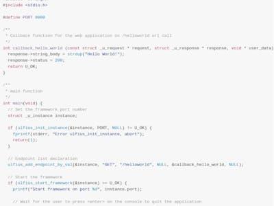 HTTP REST framework in C for embedded systems