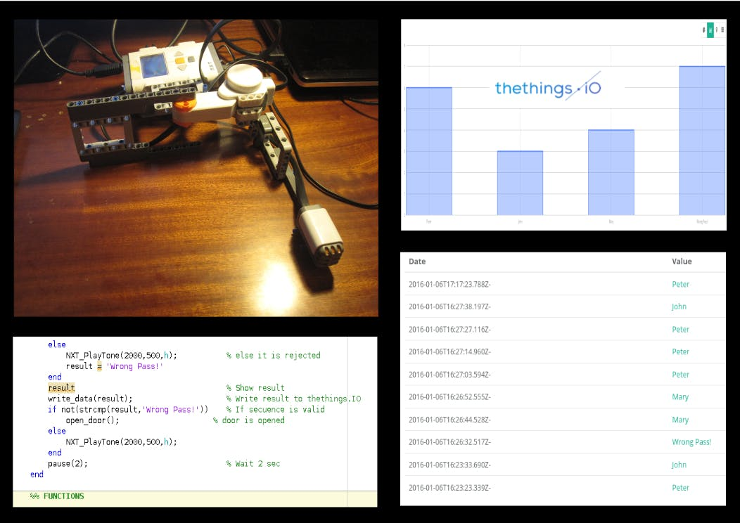 Knock Lock with the thethings.iO and Mindstorms NXT