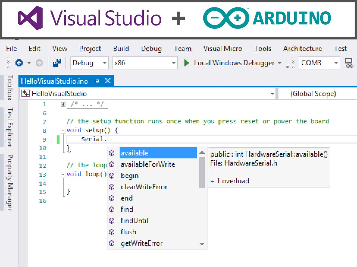 Arduino + Visual Studio = Fast Dev.