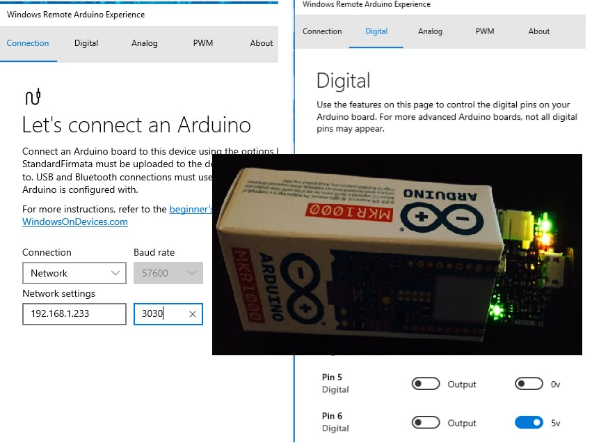 MKR1000 Windows Remote Arduino with Firmata WiFi