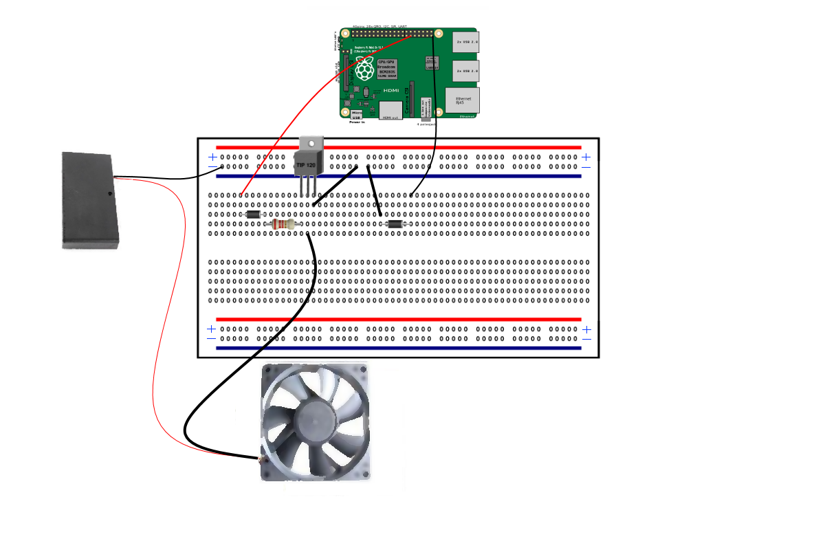 control a 12 volt fan with a rasberry pi and a transistor hackster io rh hackster io Raspberry Pi GPIO Pins Layout Raspberry Pi Circuit Diagram