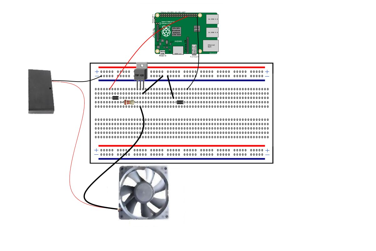 Control a 12 volt Fan with a  Rasberry Pi and a Transistor