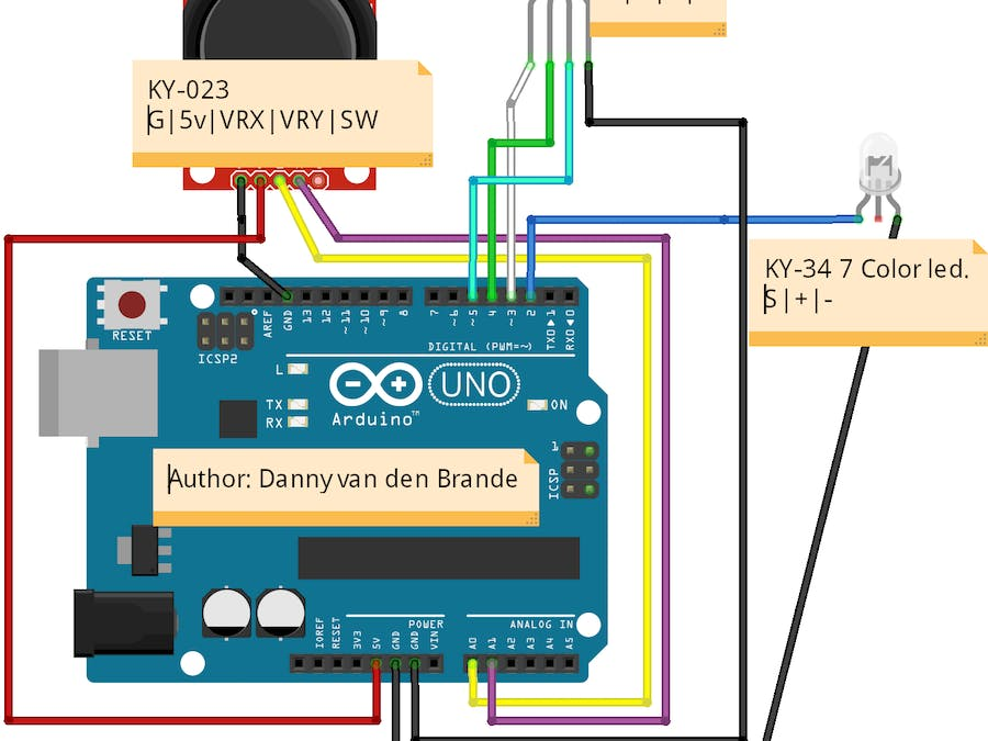 Arduino controlling leds with ps joystick ky